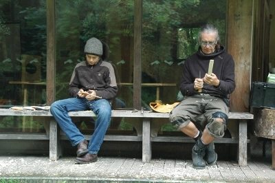 Whittling on a bench